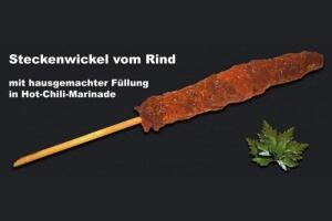 Steckenwickel vom Rind in Hot- Chili- Marinade